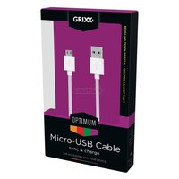 GRIXX Optimum Micro-USB naar USB Kabel Nylon - 1.8 meter - Wit