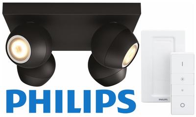 Philips Hue Buckram - White Ambiance - opbouwspot - 4 lichtpunten - zwart - incl DIM switch